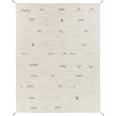 Cream Scandinavian rug with graphic, linear designs
