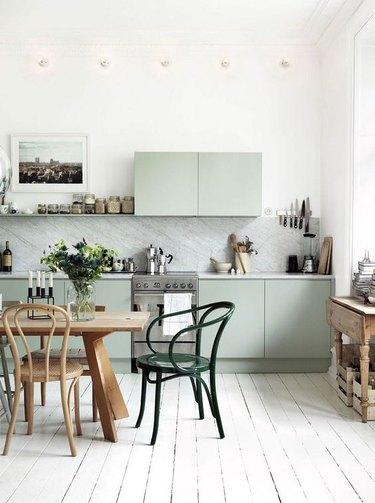 Scandinavian inspired pastel green kitchen