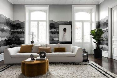 black and white painted Scandinavian wallpaper