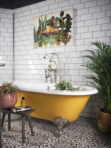 yellow roll top bath