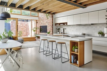 polished concrete floor in modern kitchen