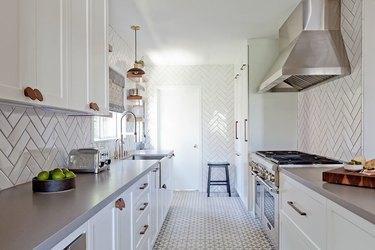 gray & white kitchen with gray patterned flooring