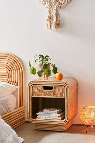 boho chevron-weave rattan nightstand