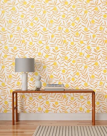 yellow floral Scandinavian wallpaper