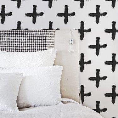 black and white cross Scandinavian wallpaper