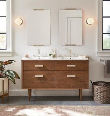 teak wood double sink bathroom vanity