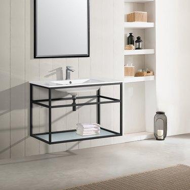 wall-mounted bathroom vanity with shelving