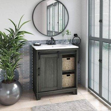 farmhouse bathroom vanity with sliding barn door