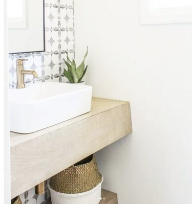 tiny DIY bathroom vanity with floating shelf
