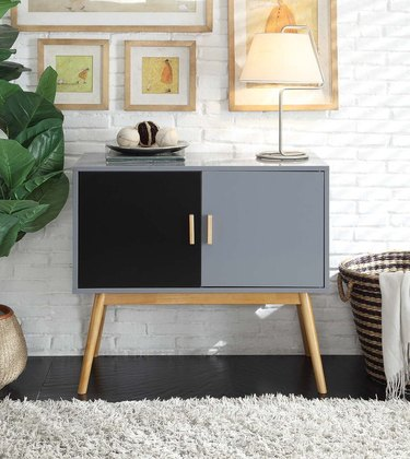 black and gray two door accent chest