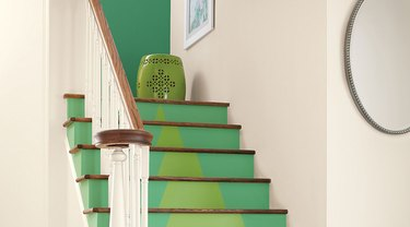You can paint stairs with bold colors.