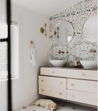 DIY bathroom vanity from a West Elm dresser