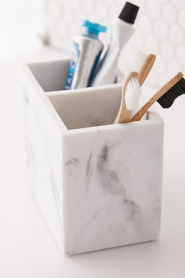 Marble toothbrush holder