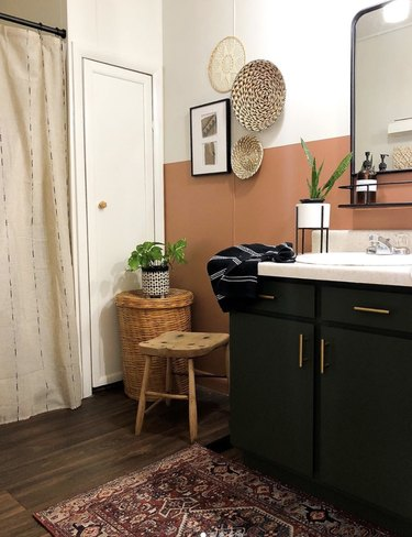 DIY bathroom vanity repainted dark green