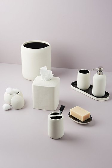 Matching modern bathroom set in white and black