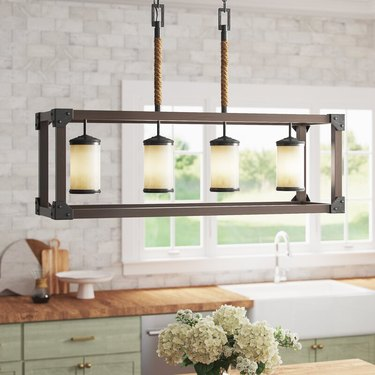 kitchen pendant lighting with wood frame and rope