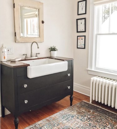 DIY bathroom vanity with a farmhouse sink