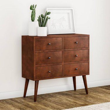 midcentury accent chest with six drawers