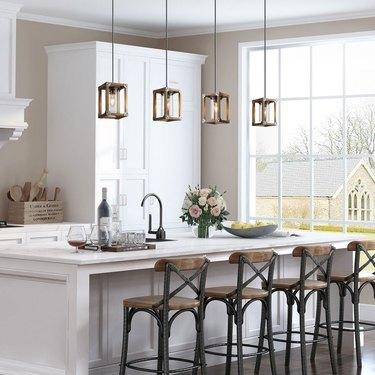 kitchen island pendant lighting with wood frame