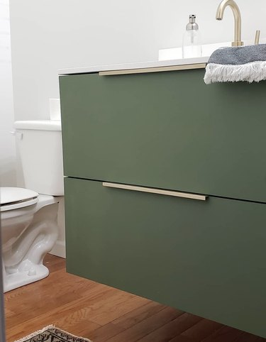 modern DIY bathroom vanity with IKEA pulls