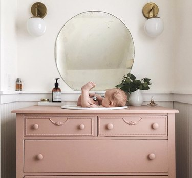 DIY bathroom vanity in pink