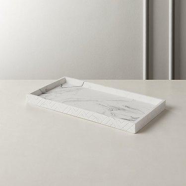 Marble-like vanity tray