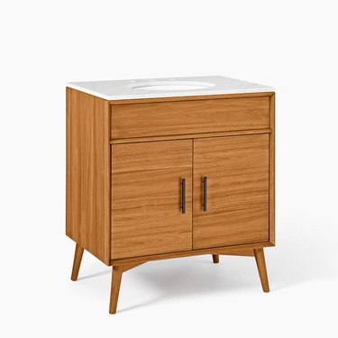 Wood midcentury small bathroom vanity with cabinets