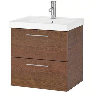 Wood and ceramic small bathroom vanity with sleek drawer pulls