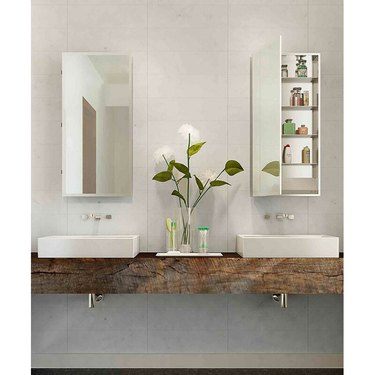 sustainable bathroom medicine cabinet with LED lights