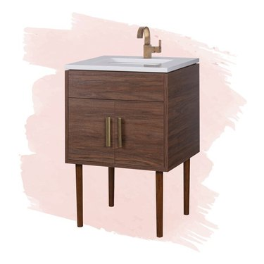 Modern small bathroom vanity with linear pulls and white subway tile