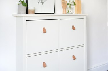 IKEA shoe cabinet storage with leather pulls