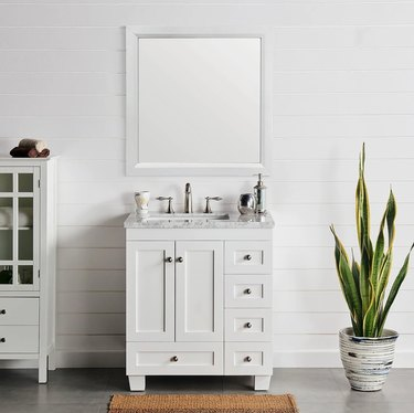 White small bathroom vanity with drawers and cabinet