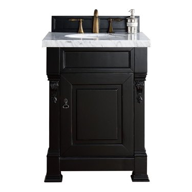 Vintage black small bathroom vanity with mouldings and cabinet