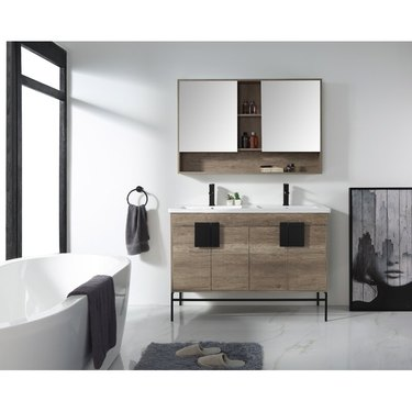 bathroom medicine cabinet with double mirror and storage shelf
