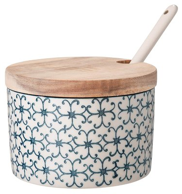 Patterned ceramic sugar bowl with wood top under $25