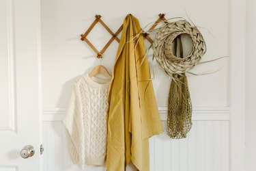 rack with clothing and accessories