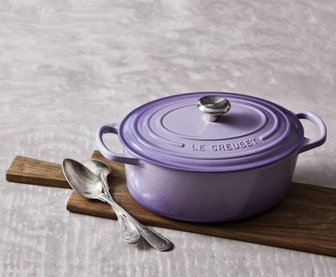 "Le Creuset's Oval Dutch Oven in the light purple shade ""provence."""