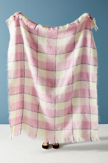 Anthropologie Pink Plaid Throw, $178