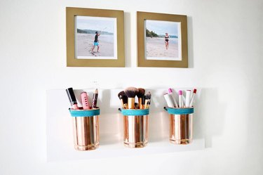 DIY wall mounted copper cup organizers for small space