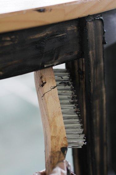 Scrubbing stripping gel with wire brush