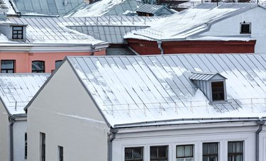 Snow on metal roofs.