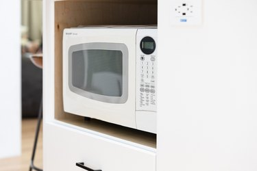 small white microwave oven