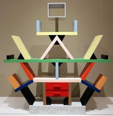 Memphis Design style bookcase designed by Ettore Sottsass