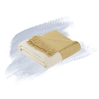 yellow and beige colorblock throw blanket with fringe