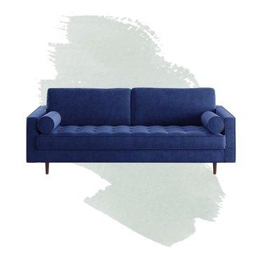 blue velvet textured sofa