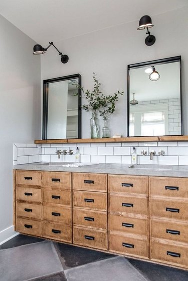 Double rustic vanity with mirrors, wood drawers, concrete counter and black lights and Wall-Mounted Bathroom Faucet