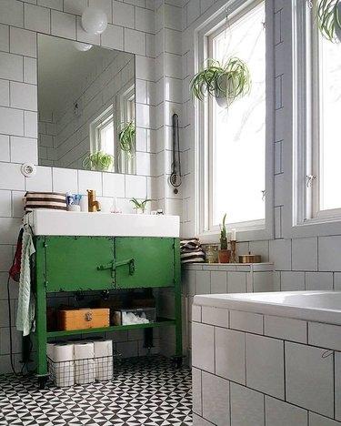white tiles industrial bathroom vanity with green metal vanity