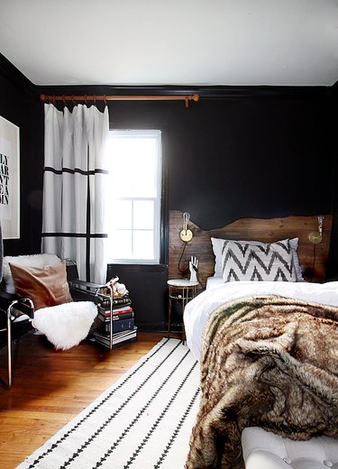 dark rustic bedroom with live edge headboard