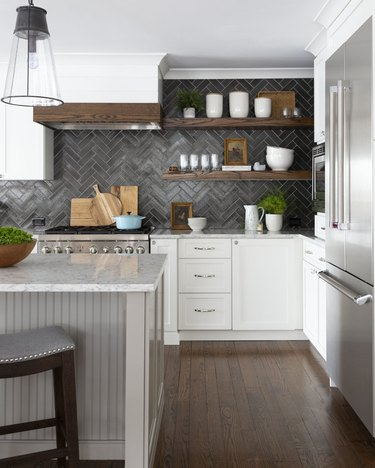 beadboard kitchen island with marble countertop