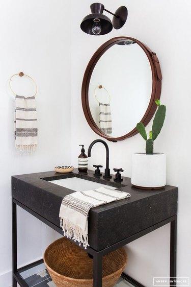 black industrial bathroom vanity and matte black taps